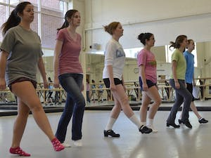 Members of The Carolina Irish Association practice in the dance studios below Woolen Gymnasium on Thursday for the group's upcoming Spring Showcase in the Student Union Great Hall on March 23rd. From left to rightBrianna Gallagher  Halie ReedOlivia BarnesEmma D'AgostinoOlivia DeSenaCaitlyn Carmean