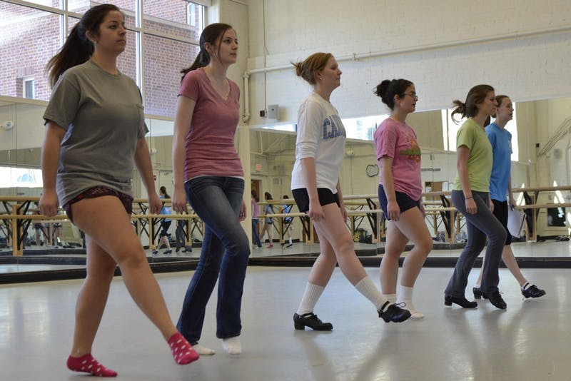 Members of The Carolina Irish Association practice in the dance studios below Woolen Gymnasium on Thursday for the group's upcoming Spring Showcase in the Student Union Great Hall on March 23rd. 