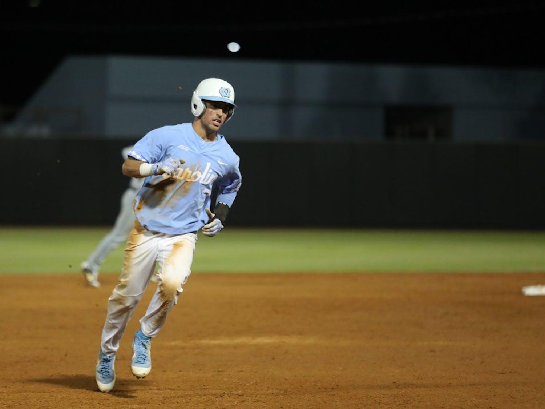 UNC's Dallas Tessar (7) runs toward third base against Georgia Tech on April 20, 2019 at Boshamer Stadium in Chapel Hill, N.C. UNC beat Georgia Tech 9-3.