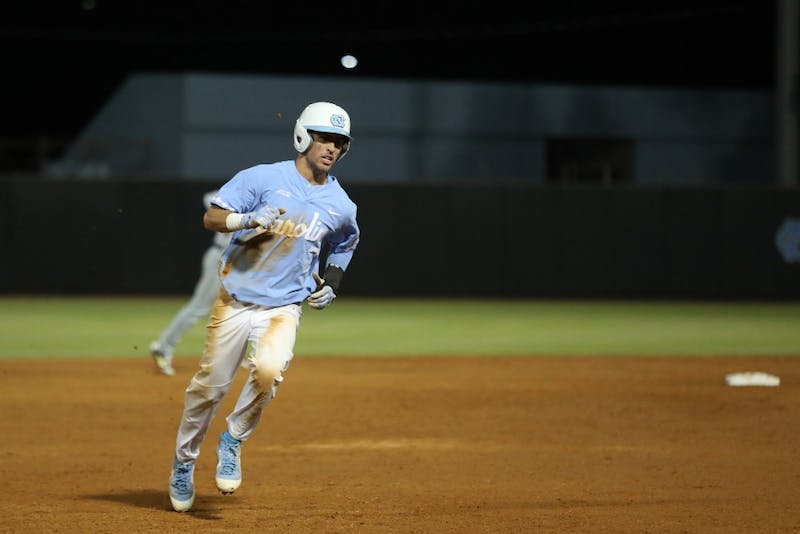 UNC's Dallas Tessar (7) runs toward third base against Georgia Tech on April 20, 2019 at Boshamer Stadium in Chapel Hill, N.C. UNC beat Georgia Tech 9-3.
