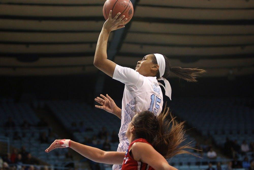 <p>Guard Allisha Gray (15) goes for the jump shot.</p>