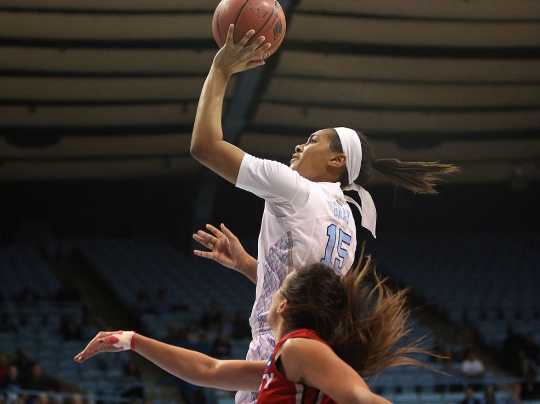 Guard Allisha Gray (15) goes for the jump shot.