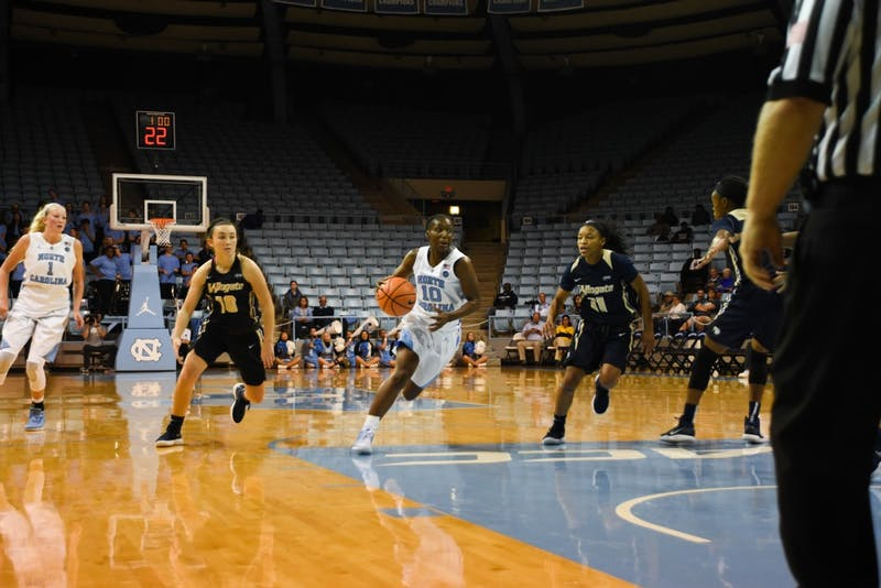 Guard Jamie Cherry (10) drives toward the basket against Wingate on Wednesday in Carmichael Arena.