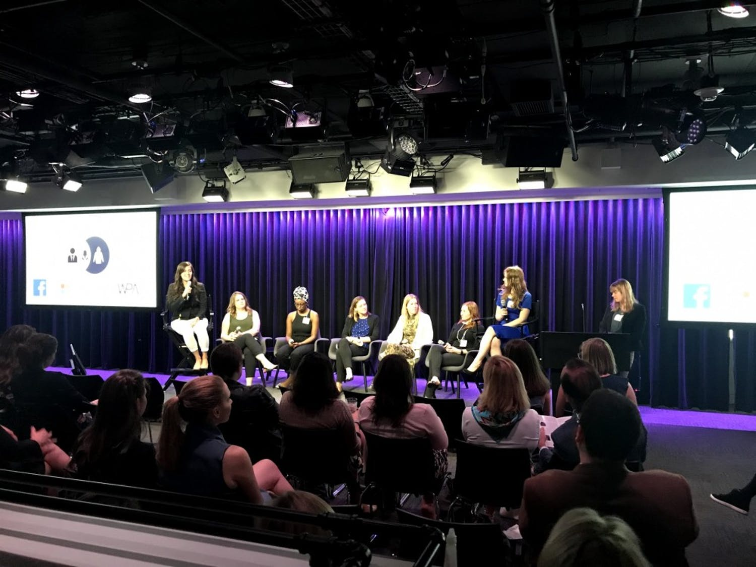 Picture with all the people on stage is the panel discussion with political tech women who worked on presidential campaigns that was moderated by two students.  Photo Courtesy of Daniel Kreiss