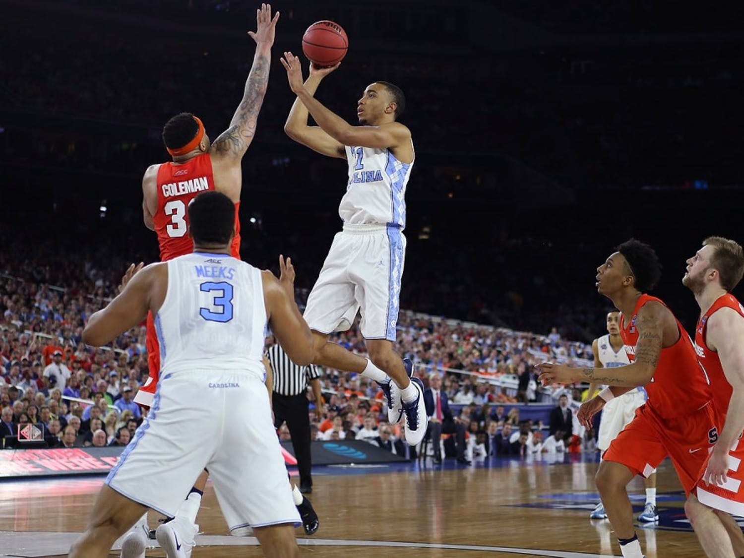 Former North Carolina forward Brice Johnson (11) takes a shot against Syracuse on April 2, 2016, in the Final Four in Houston, Texas.