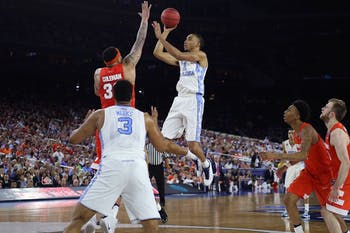 Former North Carolina forward Brice Johnson (11) takes a shot against Syracuse on April 2, 2016, in the Final Four in Houston, Tex.