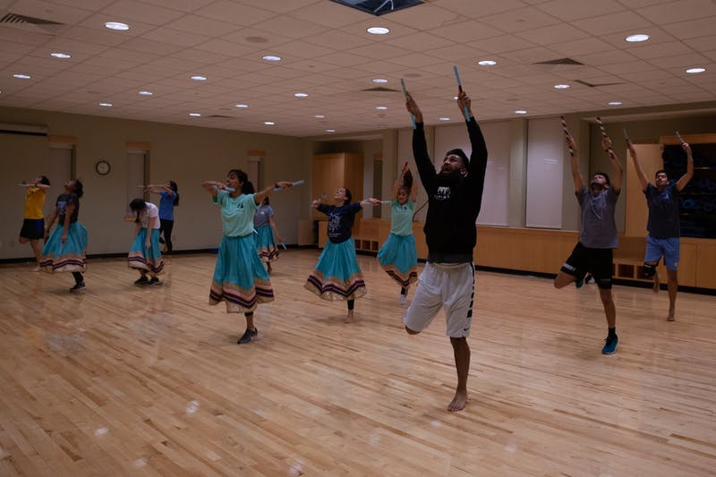 The members of Tar Heel Raas, an Indian dance organization at UNC-Chapel Hill, rehearse at Rams Head Recreation Center on Monday, Feb. 17, 2020.