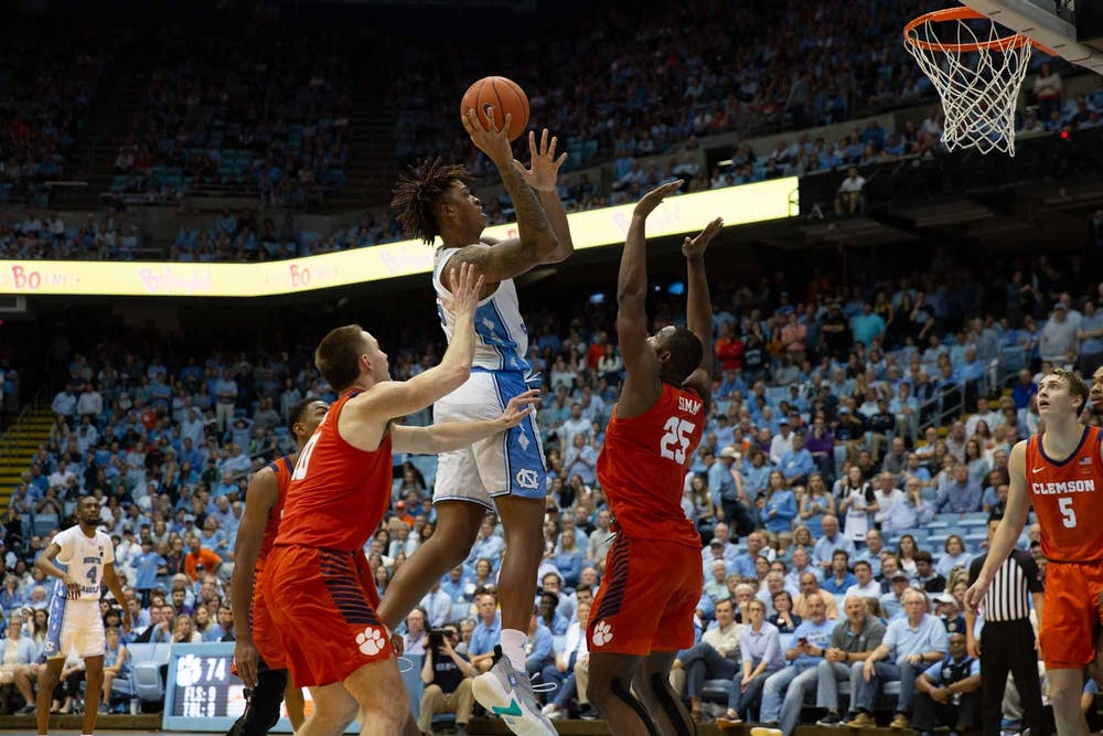 <p>UNC first year Forward Armando Bacot (5) attempts free throw during the game against Clemson at the Dean Smith Center on Saturday Jan. 11, 2020. UNC lost to Clemson 79-76, ending the Tigers 0-59 losing streak in Chapel Hill.</p>