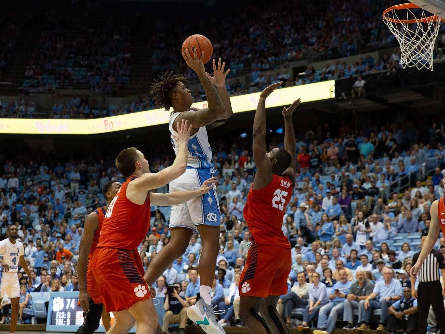 UNC first year Forward Armando Bacot (5) attempts free throw during the game against Clemson at the Dean Smith Center on Saturday Jan. 11, 2020. UNC lost to Clemson 79-76, ending the Tigers 0-59 losing streak in Chapel Hill.