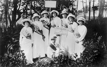 Pictured about is a group of North Carolina suffragists from 1916-1920. Gertrude Weil, president of the North Carolina Equal Suffrage Association, is on the far left. Photo courtesy of State Archives of North Carolina.