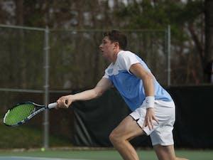 Senior Blaine Boyden, business administration major, plays for the UNC men's tennis team against Duke on Thursday, Feb. 28, 2019 at the Cone-Kenfield Center. UNC won 4-1. Boyden won his singles match.