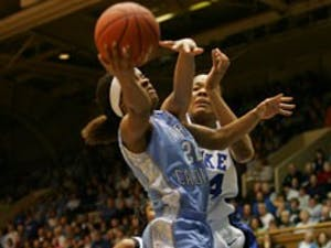 """UNC?s Cetera DeGraffenreid struggled against the Blue Devils on Sunday"""" finishing with only one assist to eight turnovers and just eight points."""