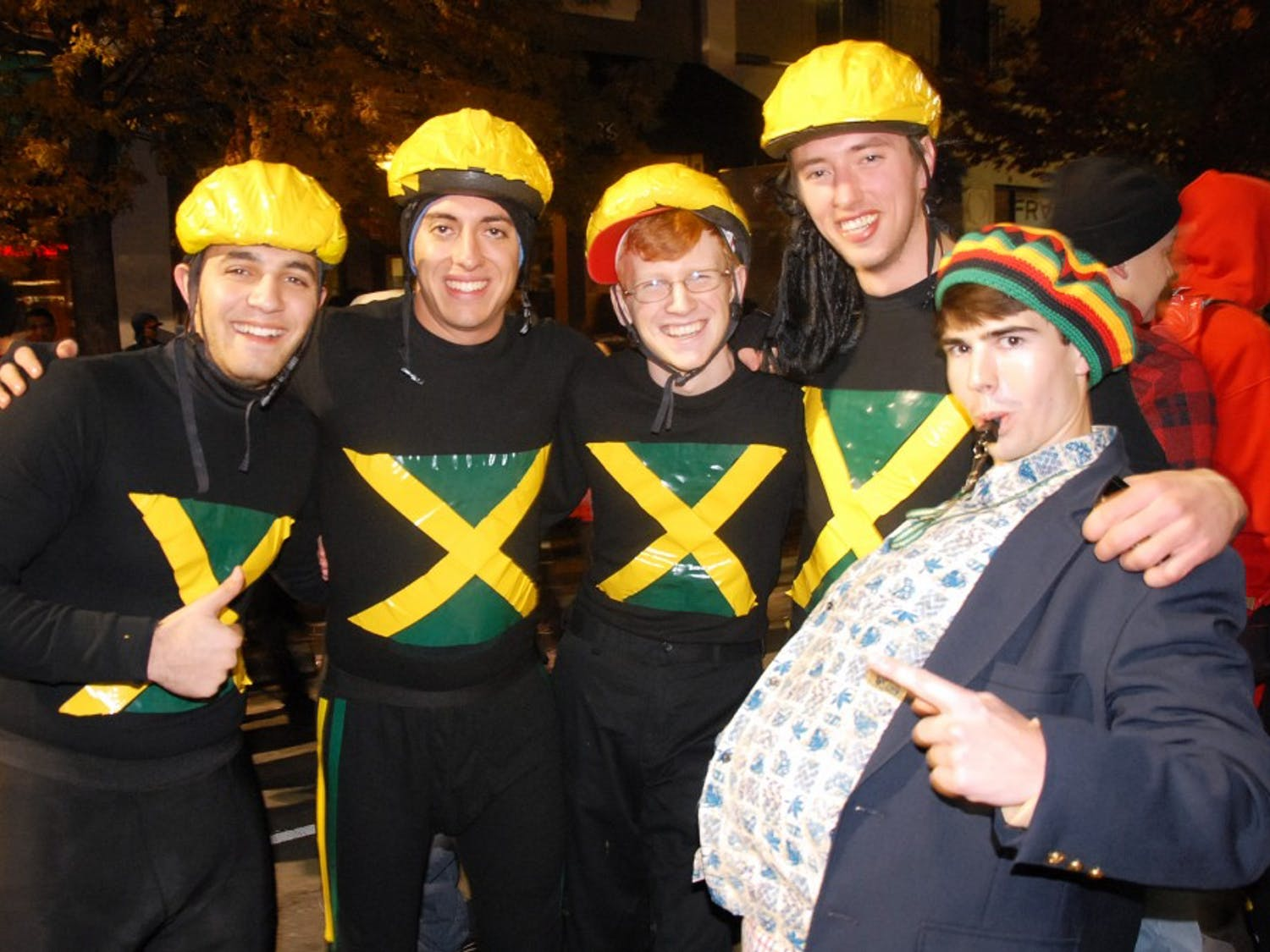 Students pose as members of the Jamaican bobsled team.