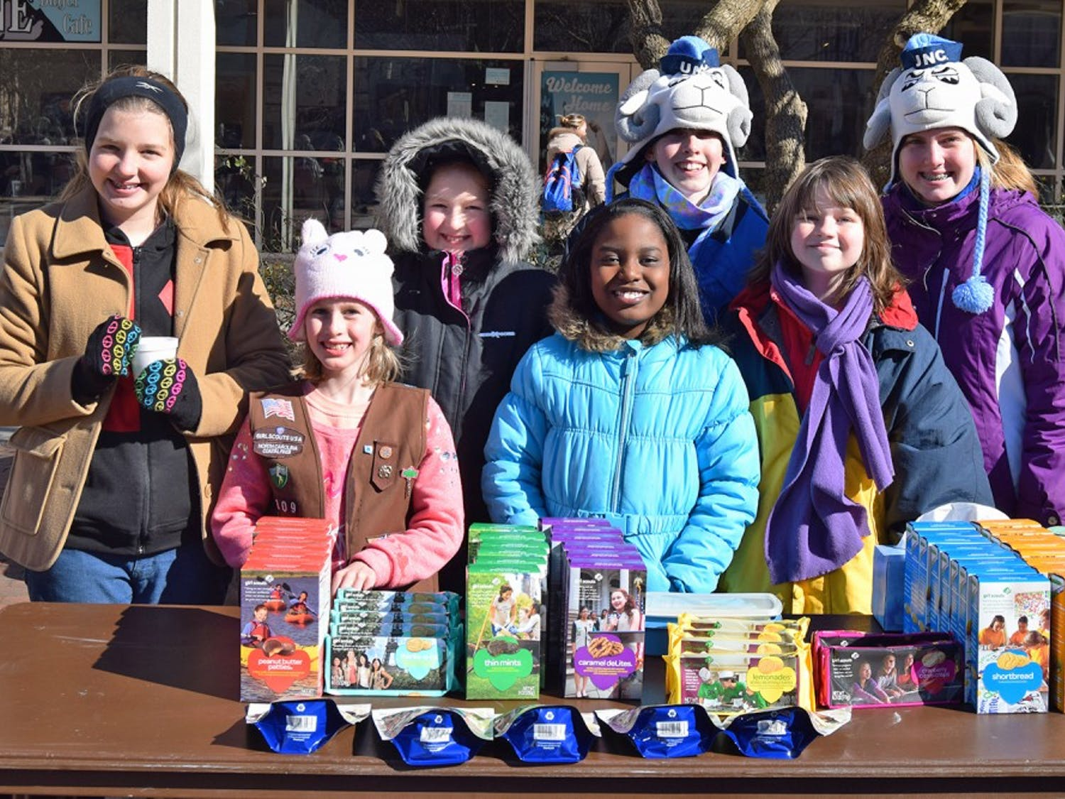 Girl Scout Troop 1309 out of Durham was selling cookies in the Pit today and besides their wonderful selection all troops are now able to accept payment by credit card!