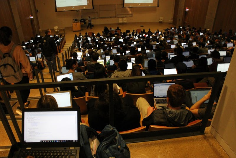 Students review in class for the Comp401 midterm on Tuesday, March 6.