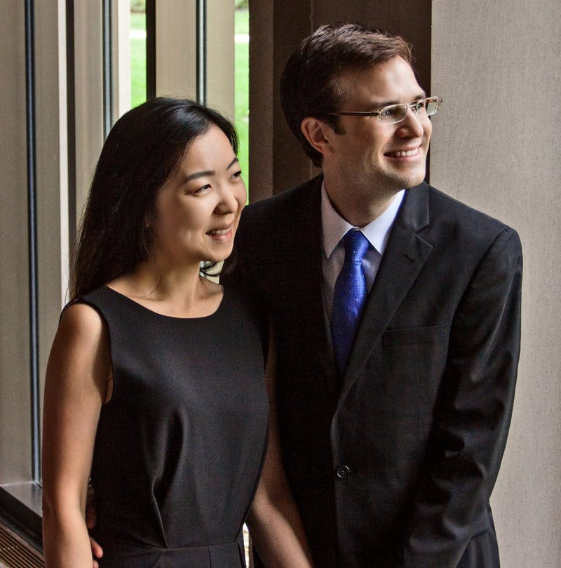 Husband and wife UNC Pembroke music professors, Mark Tollefsen and Jae Won Kim, will perform the complete piano works of Meredith Monk in Person Recital Hall on Feb. 26 at 7:30 pm. Photo courtesy of Mark Tollefsen.