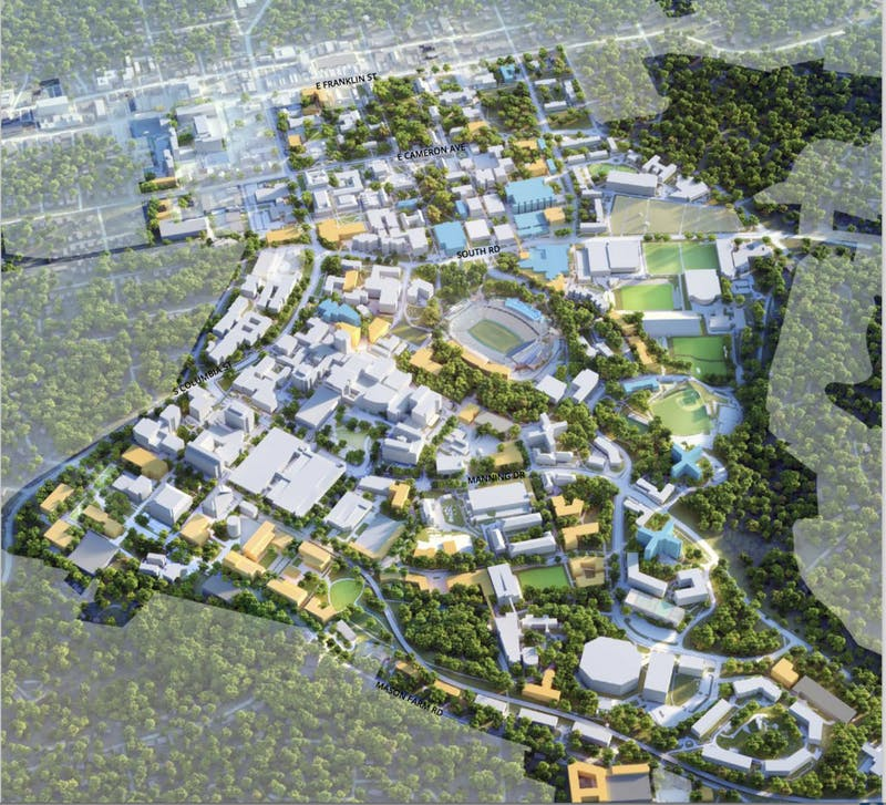 Graphic of UNC's campus in the Master Plan, courtesy of the University of North Carolina at Chapel Hill