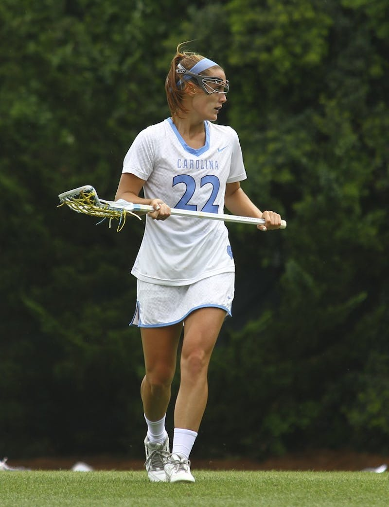 Maggie Bill faces off against the University of Florida during the NCAA Women's Lacrosse Tournament Sunday.