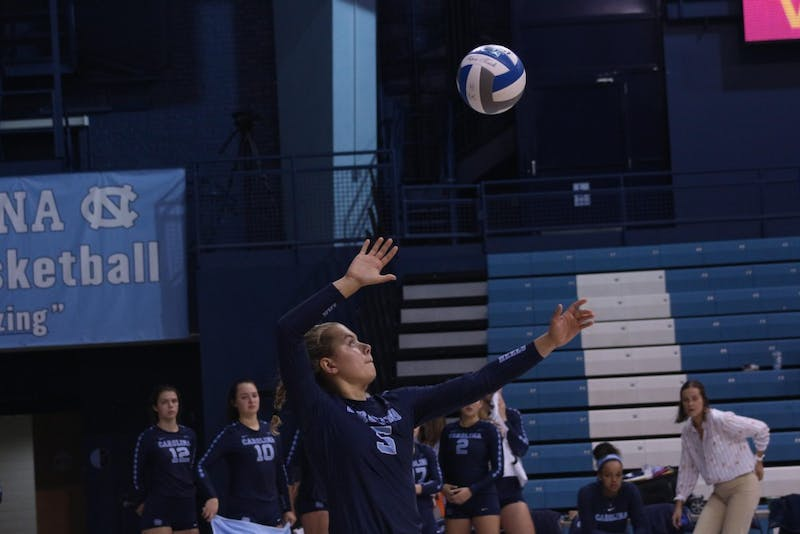 First-year setter Annabelle Archer (5) serves against Maryland Eastern Shore in Carmichael Arena on Aug. 31.