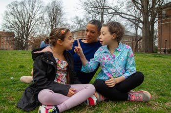 Alana Argersinger, GPAC parent representative for Frank Porter Graham Bilingue School and Chapel Hill resident is photographed on Polk Place with her daughters Camille, age 8, and Ellen, age 10 on Wedesday, March 4, 2020.