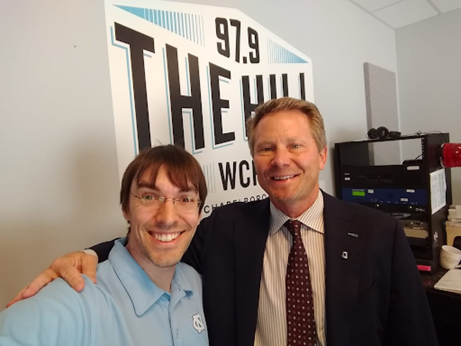 Aaron Keck with UNC Chancellor Kevin Guskiewicz on the 3-month anniversary of his appointment in May 2019. Courtesy of Aaron Keck / WCHL.