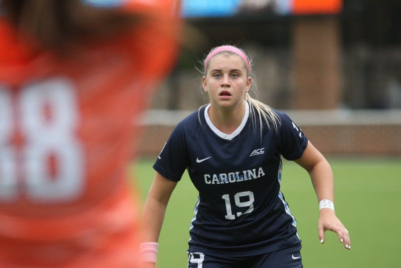 Number 19, junior forward Alessia Russo, prepares for a Clemson player to throw the ball back into play during a game on Saturday, Oct. 5th, 2019. UNC beat Clemson 1-0.
