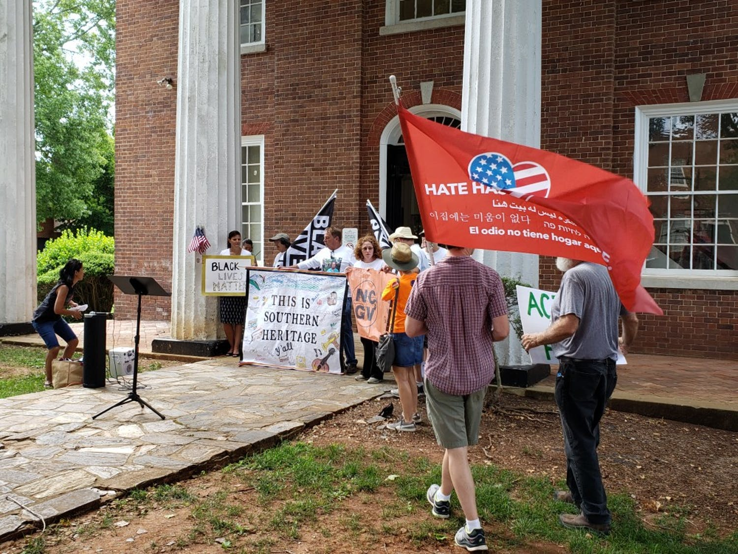 The Hate-Free Schools Coalition sponsored an emergency press conference in front of the historic Orange County Courthouse in Hillsborough on Aug. 10 to call for stricter gun reform.