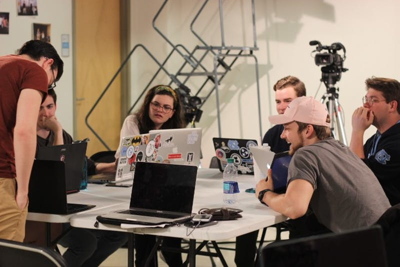 "The production team for UNC Student Television's ""Fix,"" a musical that will be submitted to the 2020 Academy Awards, works on the music and script for the film during a workshop session on Jan. 8. 2019."