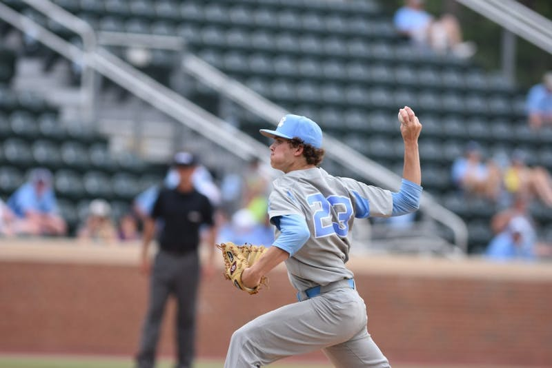 North Carolina's Tyler Baum pitches against Florida Gulf Coast in an NCAA regional game on May 4. The Tar Heels won, 10-1.