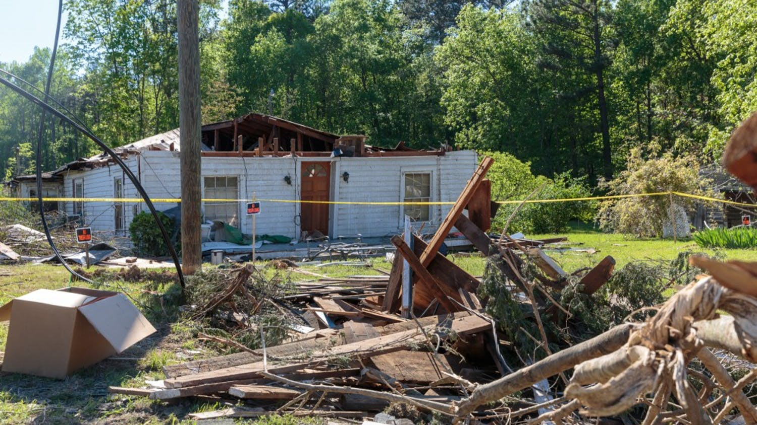3209 Old Highway 86, Hillsborough NC lies damaged and abandoned after sustaining damage during the tornado Friday, April 19, 2019.