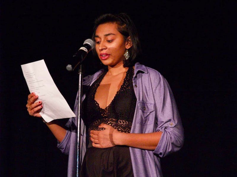 UNC Student Thilini Weerakkody performed at the 2018 Wordsmiths Grand Slam Poetry night. Photo courtesy of the Wordsmiths at UNC.