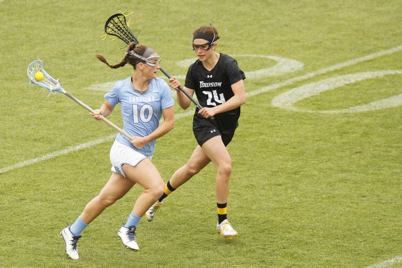 The UNC women's lacrosse team defeated Towson 17-8 at Kenan Stadium on Saturday, April 19.
