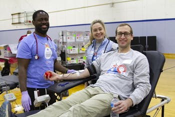 Jim Potts, associate chemical hygiene officer with UNC Environment, Health and Safety and chair of the blood drive planning committee, gets his blood drawn at Carolina Blood Drive on Tuesday, Jan. 8, 2019. Photo courtesy of Rhonda Beatty.