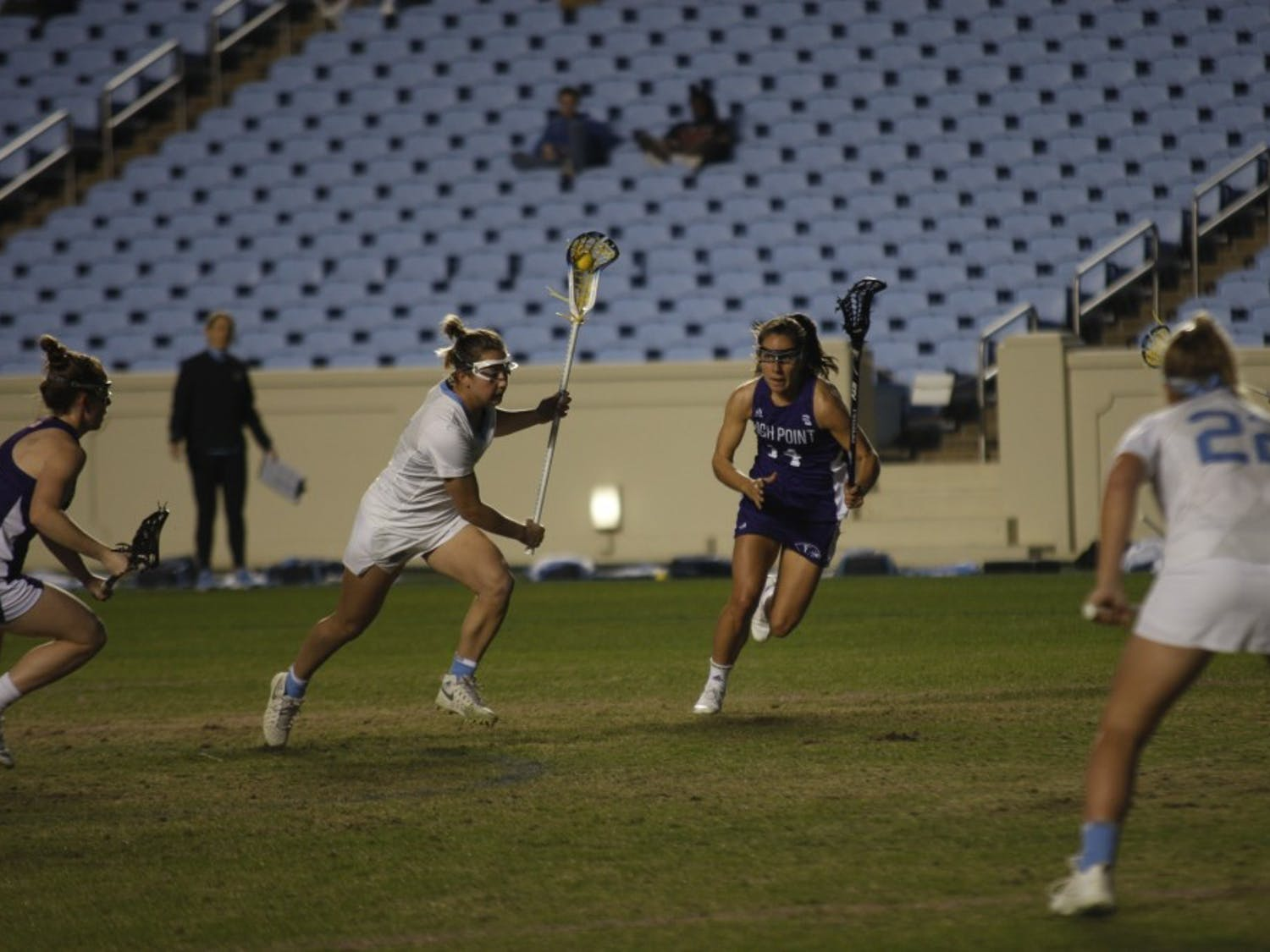UNC sophomore attacker Jamie Ortega (3) takes a penalty shot against High Point in Kenan Memorial Stadium on Friday, Feb. 15, 2019. UNC won 13-9.