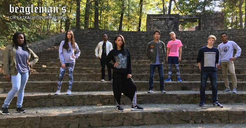 Students model for the Beagleman's fashion brand.Photo courtesy of Beagleman's Studios