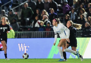Junior forward Alessia Russo (19) charges in the ACC women's soccer semifinal match on Friday, Nov. 8, 2019 against NC State at WakeMed Soccer Park. UNC beat NC State 3-0.