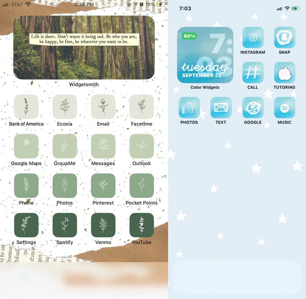 <p>Two examples of students' home screens customized through iOS 14. Photos courtesy of Kayla Dang (left) and Grace Lena (right).</p>