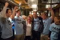 Chapel Hill Mayor Pam Hemminger (middle left) celebrates her sweeping re-election victory with her husband and children at the City Kitchen restaurant in 2017.
