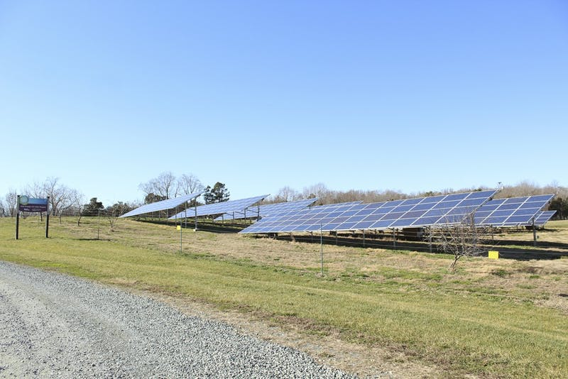 The solar panels near Maple View Farm are an example of the solar energy powered by Duke Energy.