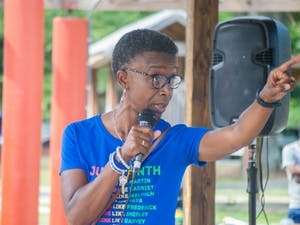 """Carrboro Town Council Member, Barbara Foushee, speaks at the  NAACP Youth Council Juneteenth Celebration and states """"our future is bright with our young kings and queens and they need to continue to have a seat at the table."""""""