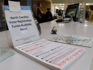 North Carolina voter registration forms are available to the public in Davis Library.