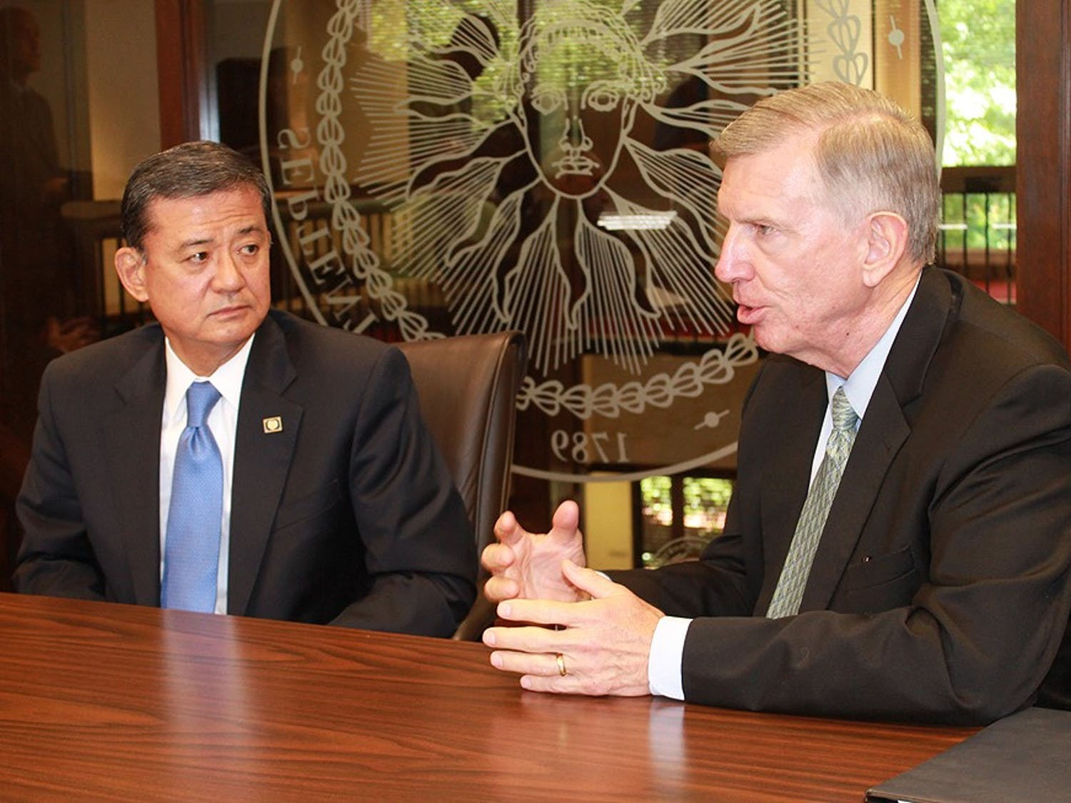 U.S. Secretary of Foreign Affairs Eric Shinseki (left) and UNC system president Tom Ross spoke Tuesday on ways to improve access to higher education in North Carolina for military veterans.