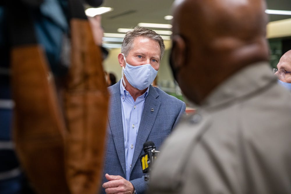Chancellor Kevin Guskiewicz gives an interview in the Student Union on March 31, 2021. As North Carolina began to allow college students to receive coronavirus vaccines, UNC opened a clinic on campus where students can receive the Johnson & Johnson vaccine.