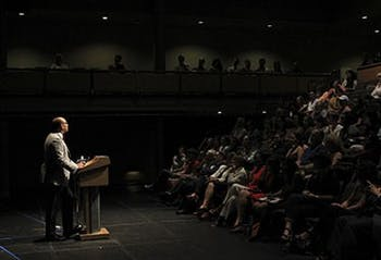 Kwame Anthony Appiah speaks to an audience about ethics in the humanities in Kenan Theater on Thursday evening.