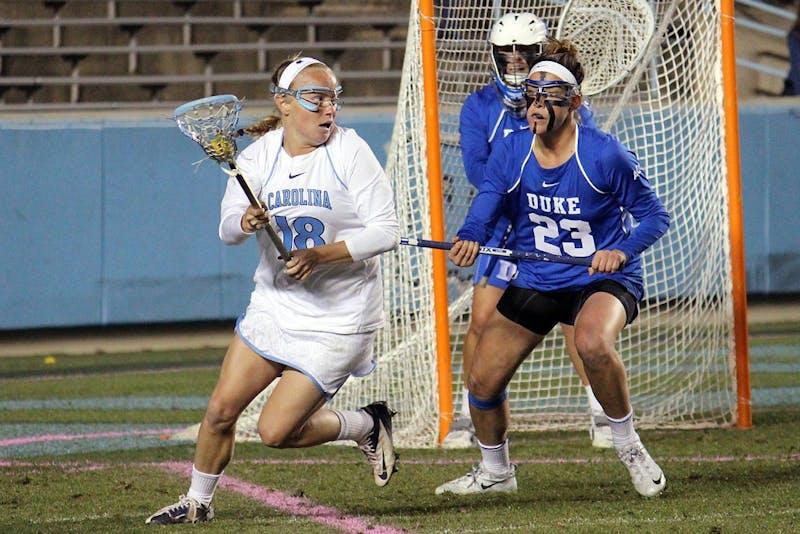 Women's lacrosse suffers a loss 7-6 to Duke in overtime on Wednesday in Kenan Stadium.