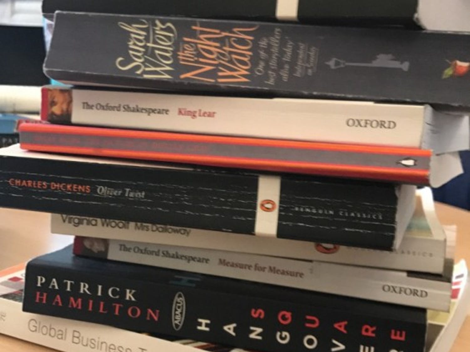 A semester's worth of books. That's life in London.