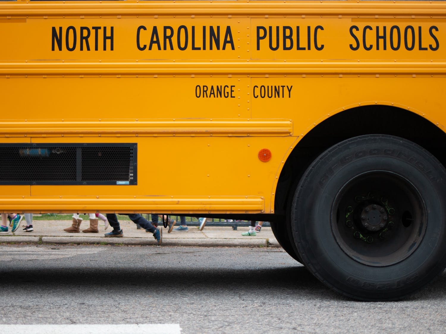 A North Carolina school bus located in Carrboro, N.C. on Wednesday, Feb. 12, 2020. On Feb. 6, 2020, local schools dismissed early in order to get students home in the midst of severe  weather. The storms  coincided with dismissals, however, causing students and staff to return indoors.
