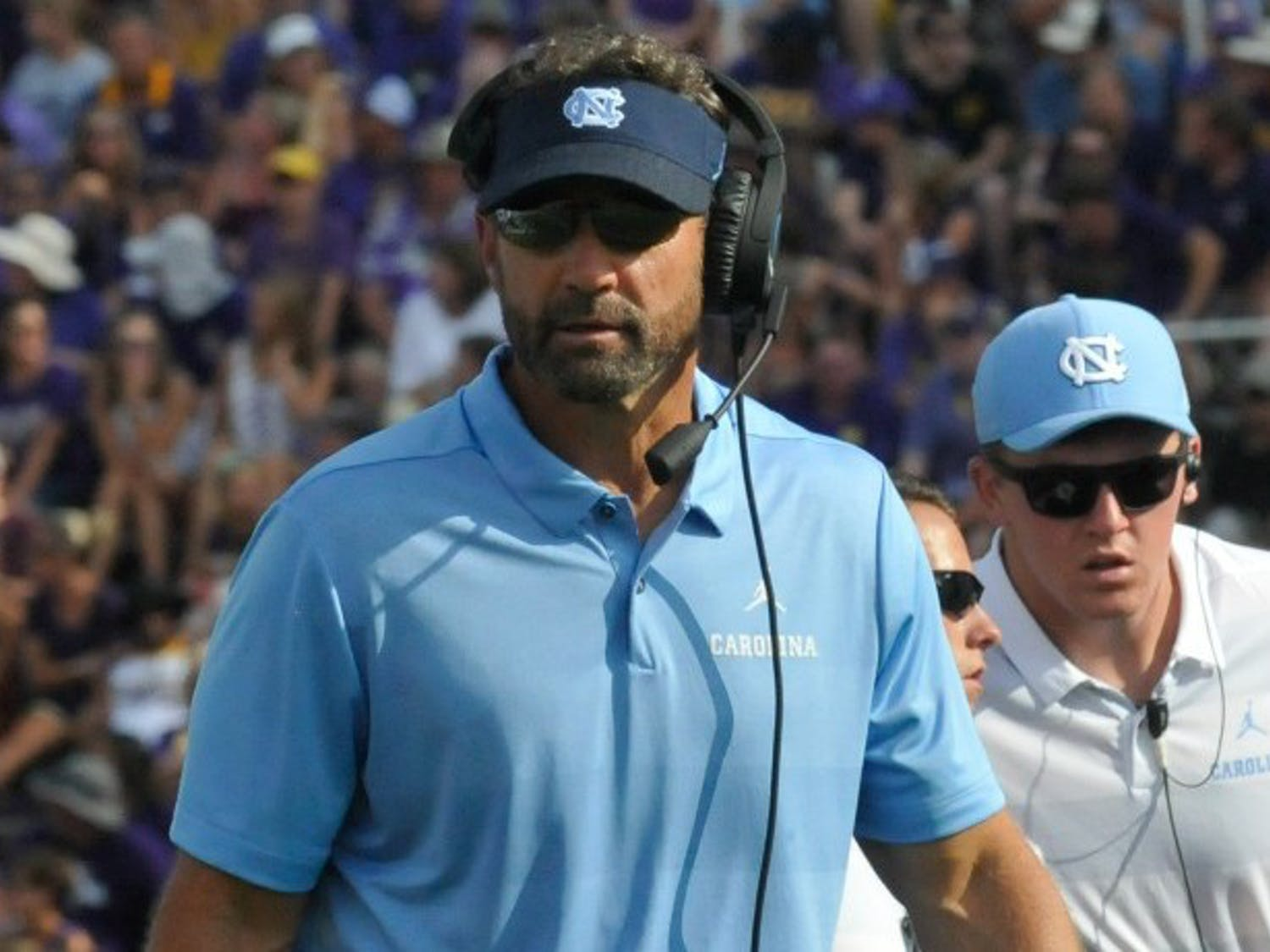 Larry Fedora on the sidelines of Saturday's game against ECU.