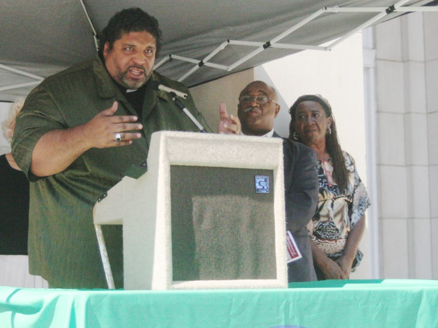 Rev. Robert Campbell, President of the Chapel Hill-Carrboro NAACP, spoke Sunday afternoon at the Peace and Justice Celebration.