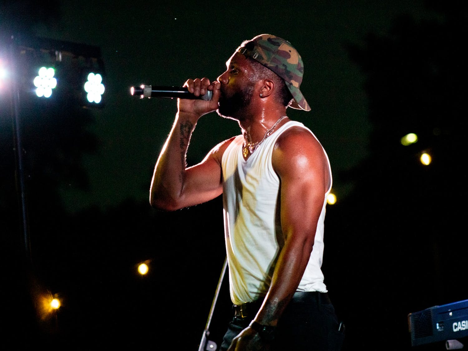 """Kevin """"Kaze"""" Thomas, a.k.a. KAZE4LETTERS, performs at the Tracks Music Series Hip Hop concert at University Place, Chapel Hill, on Sept. 23, 2021."""